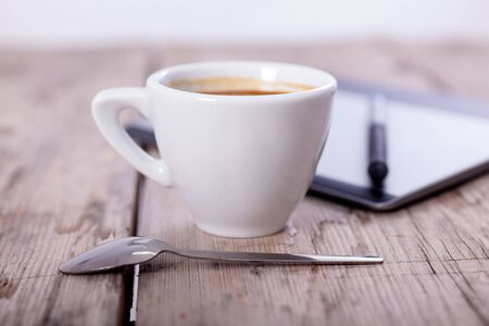 sampler: coffee cup and graphic drawing board Stock Photo
