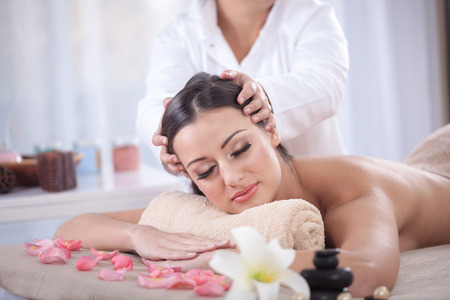 treatment: young woman beauty treatment concept Stock Photo