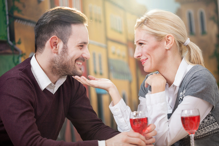 ice cram: young happy couple in restaurant Stock Photo
