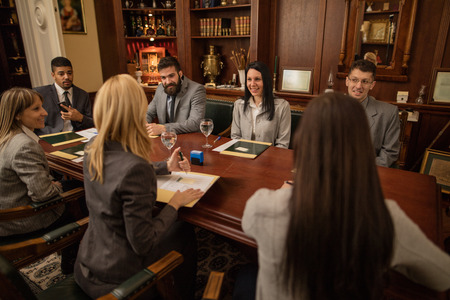 team of successful lawyer or businessman at a meeting in the office