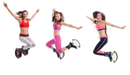 concept d'exercice, fitness et d'aérobic avec des chaussures de kangoo