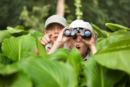 Dos niño que oculta en la hierba mirando a través de binoculares al aire libre