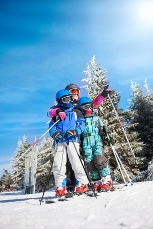 kids at the ski lift: Ski, snow, sun and winter fun