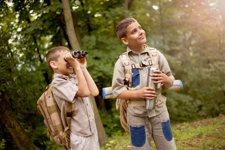 boys go hiking with backpacks on forest road bright sunny day