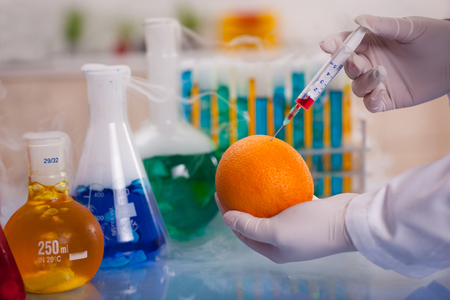 mad gmo experimant in laboratory Stock Photo
