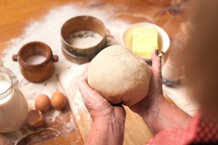 making dough at home kitchen Stock Photo