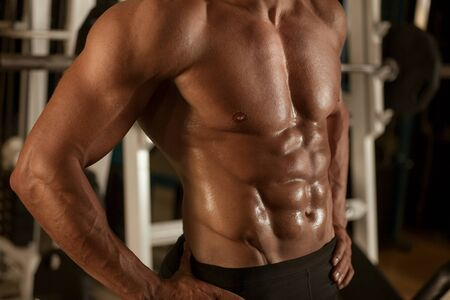 Athletic Strong Sex Man Abs Six Pack Muscles Bodybuiding And Fitness Concept
