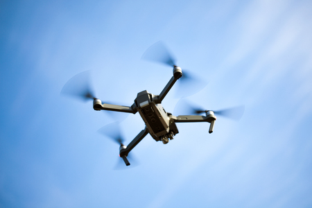 uav drone copter flying with digital camera