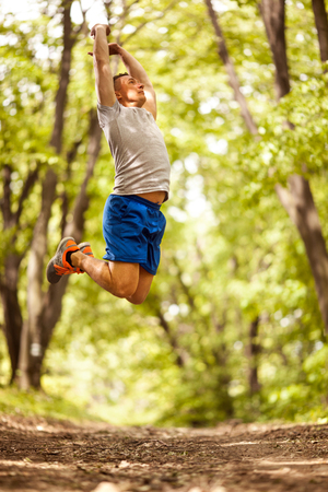 young muscular man exercise outdoors Banque d'images