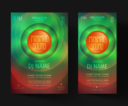 Minimal party flyer. Invitations for a night club or electronic festival in the style of house,dubstep,techno,minimal,trance,Drum and Bass or Indie rock.