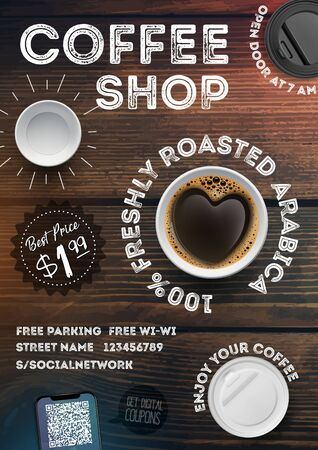 Coffee shop flyer template on vintage wood texture background. Advertising   invitation in A4 format brochures, posters, banner, leaflet. Vector illustration