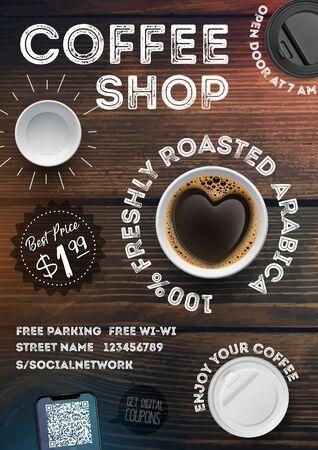 Modèle de flyer de café sur fond de texture bois vintage. Invitation publicitaire au format A4 brochures, affiches, bannière, dépliant. Illustration vectorielle
