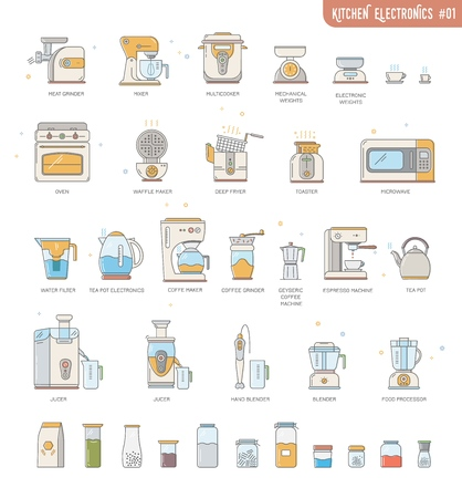 Outline icon collection small kitchen electronics appliances:espresso machine,coffee maker,food processor,multicooker,oven,kettle,blender, mixer,jucer,deep fryer,water filter,meat grinder,utensils