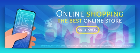 Banner template of Online Shopping and e-commerce.Modern flat design concept of web page design for mobile website.Online payment, customer service and delivery.Vector illustration