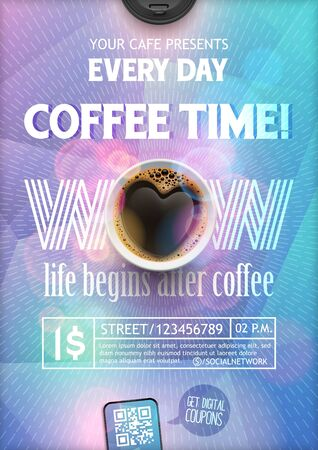 Coffee Break Flyer Template.The layout on colorful background with rays for leaflet, banners, invitation, brochure, wallpaper. Coffee in the form of heart.
