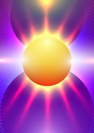 Sfondo astratto con forme sfumate geometriche colorate sotto forma di sole e raggi. Concept Cover dinamica minima o modello di progettazione della carta da parati. Illustrazione di vettore.