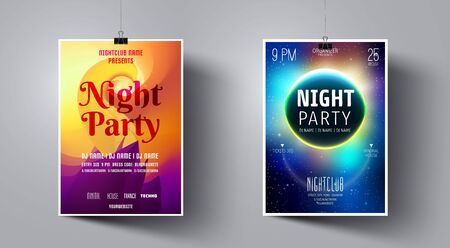 Party Flyer Template with Purple and Orange color. Colorful Abstract Vector Illustration. Party Flyer Template on the Background of the Moon and Galaxy Space.  Night Club Dj Poster.