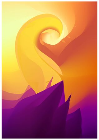 Modern abstract vector background template or Wallpaper in yellow and purple tones. Shape of mountains, spirals. Abstract geometric background for brochure, card, flyer. Vector illustration Иллюстрация