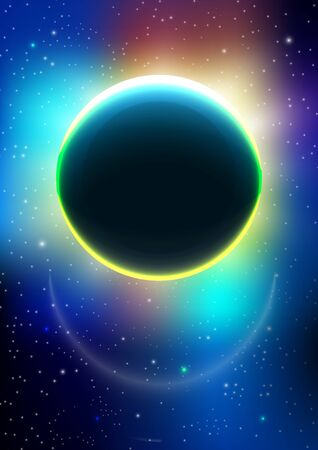 Modern abstract pattern vector background or Wallpaper on the background of the cosmos. Outer space. Eclipse. Abstract background for brochure, card, flyer, poster, cover. Vector illustration