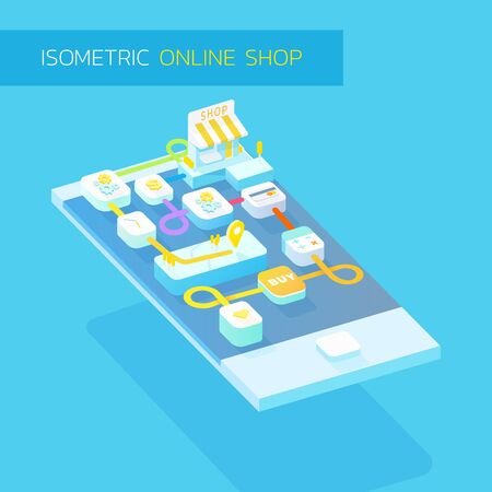 3d isometric illustration , concepts for online shop,mobile internet shop,shopping application,online shopping step with blue and orange theme
