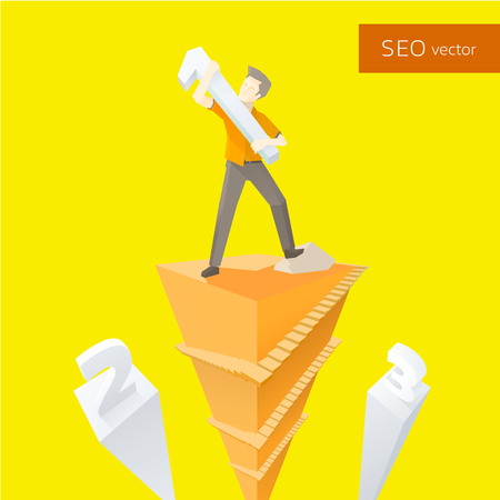 the vector illustration a man who carrying an one number on his shoulders concepts for SEO,Search Engine Optimization,step,the winner,to be number 1,road of success,champion,human behaviour,attempt,with 3d illusion view with in yellow and orange theme Illustration