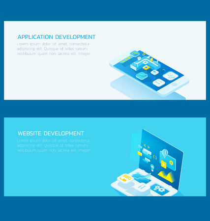 skyblue: the set of 3d isometric banners illustration , concepts for application and website development,developer,programmer,website design,developer with blue and orange theme,