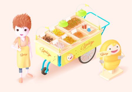 seller: a 3d isometric illustration a  man standing beside the fried insect,bug cart concept for Thai Street food ,fried insect,bug.