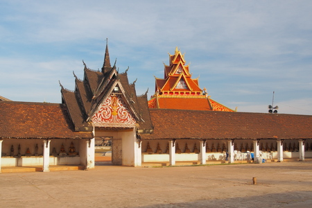 ing: Entrance of Wat Pra Thart Ing Hung, Savannakhet, Laos