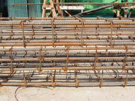 reinforcing: Reinforcing steel bars for building armature in construction site Stock Photo