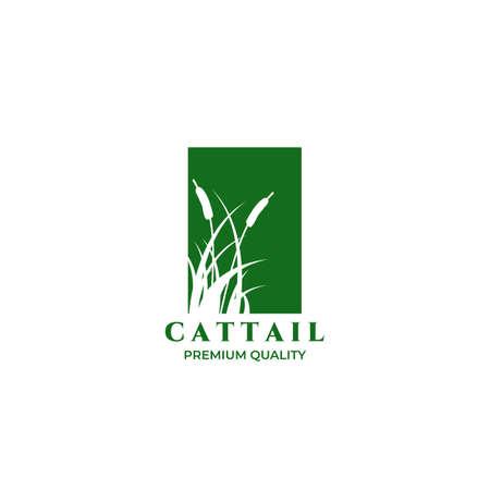 Cattails Logo Vector Illustration Design Vintage Linear
