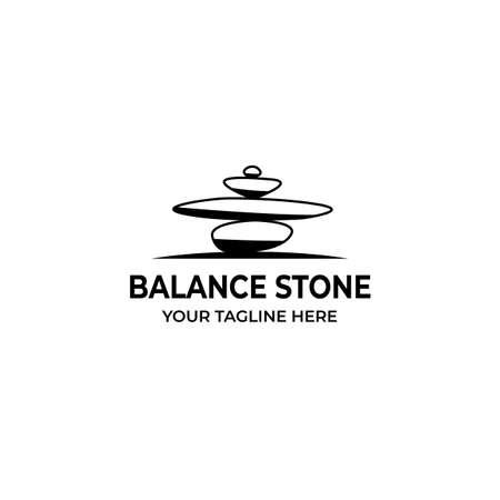 Balance Stone Logo Vector Illustration Design Vintage Icon Line Logo
