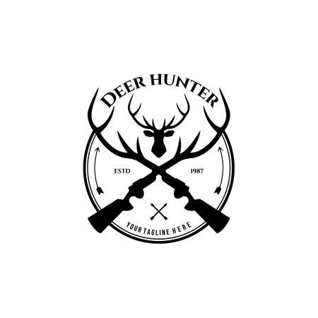 Deer Hunter Outdoor Adventure Logo Vector Illustration Design Vintage