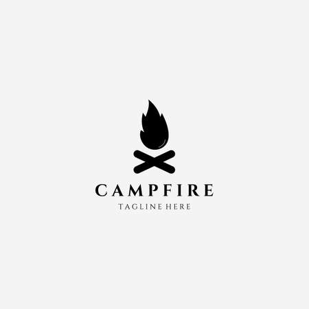 Icon Campfire, Camping Outdoor Logo Vector Illustration Design