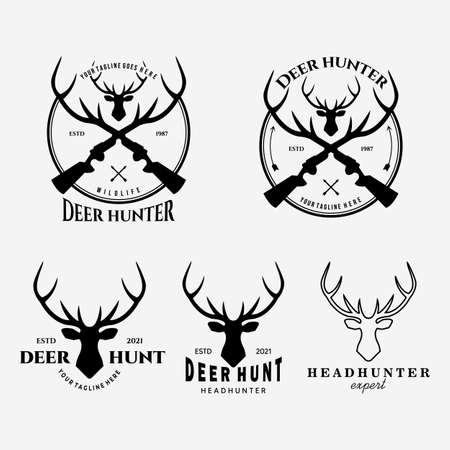 Set Deer Hunter Logo Vector Illustration Design Vintage Line Art