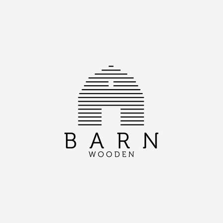 Wooden Barn Line Art Logo Vector Design Illustration, Barn House Icon, Agriculture, Livestock Company
