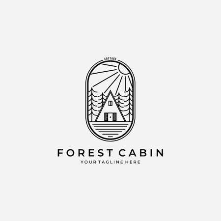 Line Art Forest Cabin Logo Vector Design Illustration Log House