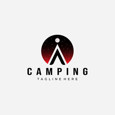 Night Tent Camping Logo Vector Design Vintage Illustration Icon
