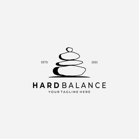 Hard Balance Stone Logo Vector Design Illustration Vintage, Line Art Stone, Simple Logo Spa, Healthy Care Logo Stock Illustratie