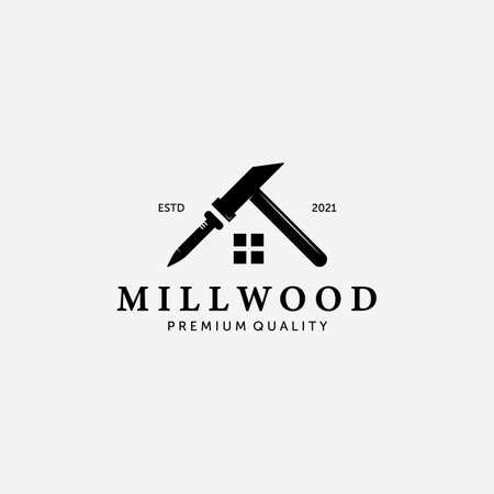 Mill Wood House Logo Vector, Illustration of Carpentry Design, Vintage of Hammer and Steel