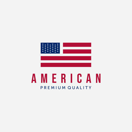 Minimalist American Flag Logo Vector Design Symbol Vintage Illustration