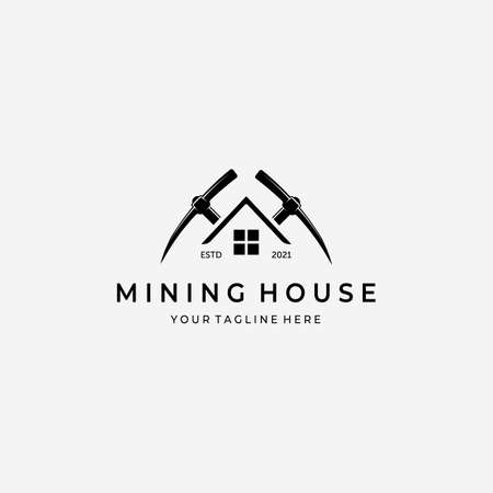 Mining House With Pickaxe Logo Vector Design Illustration Vintage, Gold Mine House, Digger Home Concept