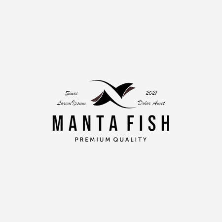 Simple Stingray Fish Logo Vector, Vintage Design of Manta Fish, Illustration Concept of Manta Rays