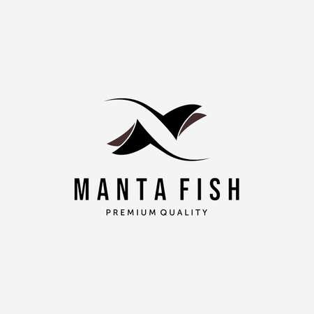 Manta Fish or Stingray Logo Vintage Vector, Design and Illustration of Undersea Wildlife Concept Logo