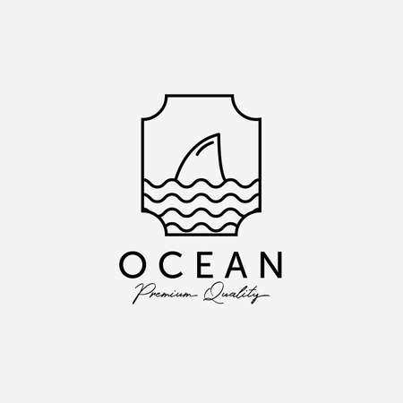 Emblem of Ocean Shark Line Art , Illustration Design of Pacific Marine, Horizon Coastline Vector Concept