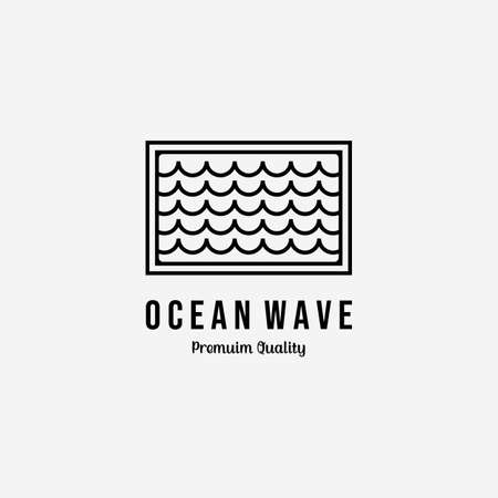 Minimalist Emblem of Surfing's Wave Logo Icon Line Art Vector Design Illustration