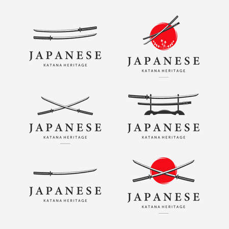 Set Bundle of Katana Sword Logo Ninja Samurai Logo Icon Vintage Vector Illustration Design Japanese Heritage