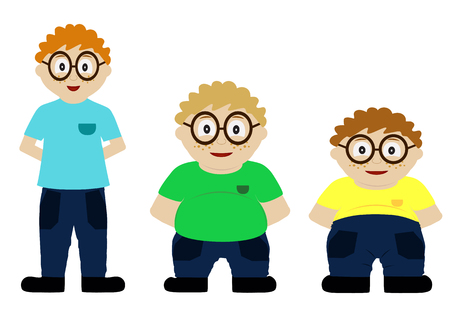 From thin to fat kid. Children obesity. Funny cartoon boys on white background. Boy getting fat, gaining weight.