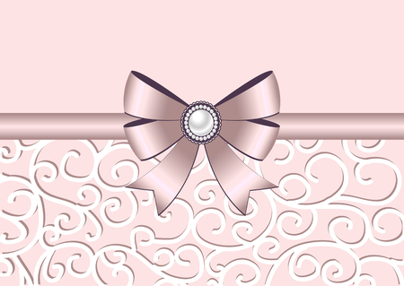 nacre: Greeting card with bow, ribbon and ornament. Invitation, greeting card or card template. Also suitable for Valentines Day. Vector illustration.