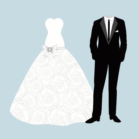Invitación de boda con novio y la novia ropa. Hermoso vestido de novia y el traje.