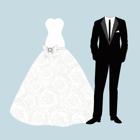 Wedding card with bride and groom clothes. Beautiful wedding dress and suit.